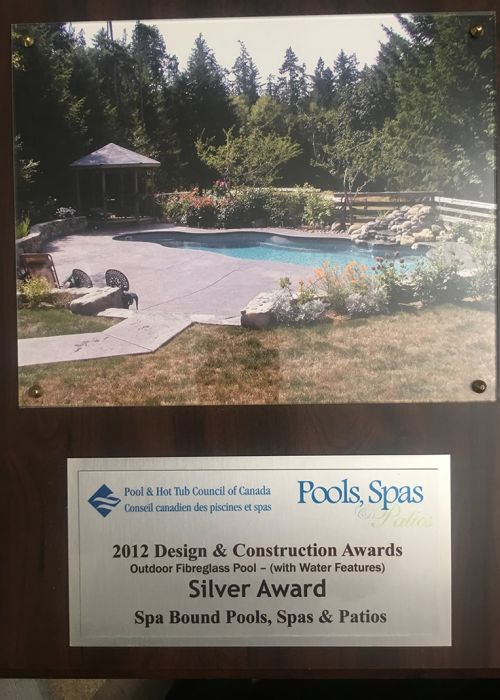 2012 Pool & Hot Tub council of Canada Design & Construction Awards (Outdoor Fibreglass Pool (with Water Features) Silver Award