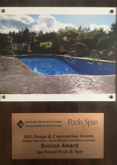 2013 Pool & Hot Tub council of Canada Design & Construction Awards (Outdoor Vinyl Pool - Up to 450 sq.ft. No Water Features) Bronze Award