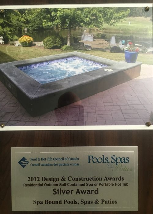 2012 Pool & Hot Tub council of Canada Design & Construction Awards (Residential Outdoor Self-Contained Spa or Portable Hot Tub) Silver Award
