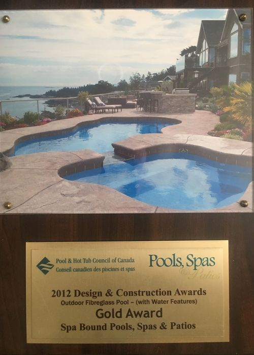 2012 Pool & Hot Tub council of Canada Design & Construction Awards (Outdoor Fibreglass Pool (with Water Features) Gold Award